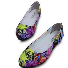 Big Size Foral Print Dandelion Colorful Multi Color Match Slip On Flat Shoes