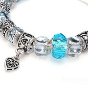 925 Silver Plated Crystal Blue Murano Glass Beads Bracelet