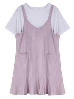 Women T-shirt And Dress Two Pieces Summer Pocket Loose Dress