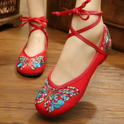 Butterflyknot Embroidery Chinese Style National Wind Strappy Bandage Lace Up Flat Shoes