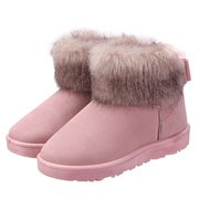 Butterfly Knot Artificial Fur Ankle Flat Snow Boots