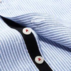 Мужская весна осень Мода Повседневная Бизнес Полосатый Стенд Воротник платье рубашка