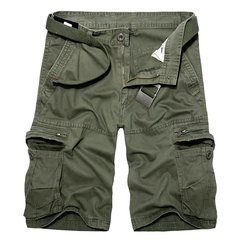 Men's Summer Solid Big Pockets Loose Casual Cotton Cargo Shorts