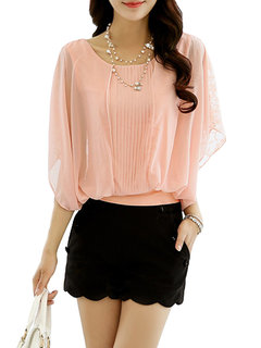 Loose Women Batwing Sleeve Hollow Out Patchwork Chiffon T-Shirt