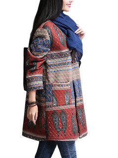 Vintage Printed Long Sleeve Women Thick Button Cotton Coat