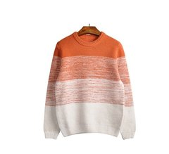 Men's Fall Winter Casual Knitted Contrast Color Crew-neck Pullover Sweater