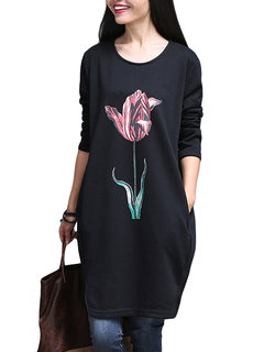 Casual Loose Flower Printing Round Neck Mini Dress For Women