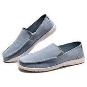 Men Canvas Pure Color Casual Soft Slip On Flat Loafers