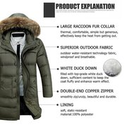 Winter Thicken Warm Fur Hooded Solid Color Long White Duck Down Jacket for Men