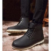 Letter Ankle High Toe Warm Fur Lining Lace Up Boots For Men
