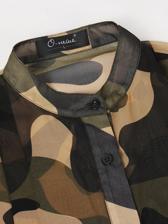 O-Newe Camouflage Printed Stand Collar Sunscreen Outwear For Women