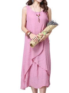 Vintage Women Sleeveless O Neck Pure Color Irregular Dress