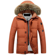 AFS JEEP Winter Outdoor Thicken Warm Stitching Solid Color Hooded Jacket for Men