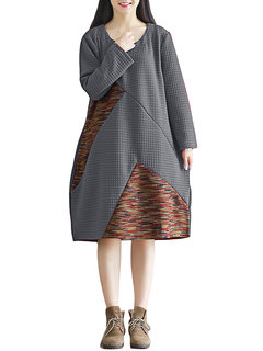 Loose Patchwork Color Block O-Neck Long Sleeve Dress For Women