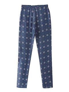 Rudder Printed Women Drawstring Casual Elastic Lacing Waist Pant