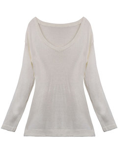 Sexy Off Shoulder Loose Long Sleeve Pullover White Sweater