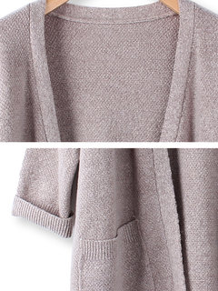 Casual Loose Solid Color Slit Hem Wool Knitted Cardigan