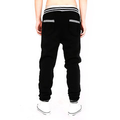 Mens Sport Pants Elastic Waist Drawstring Splicing Buttons Decorated Solid Color Casual Sportwear