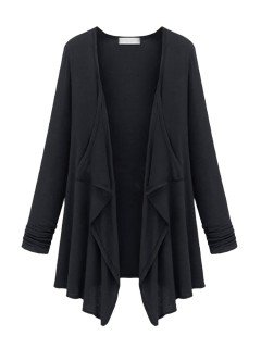 Loose Women Brief Solid V Neck Long Sleeve Irregular Cardigan