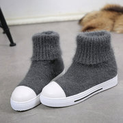 Knitting Wool Multi-Way Folded Slip On Ankle Boots
