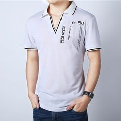 Men's Spring Summer Cotton Casual Turn-down Collar V-neck T-shirts