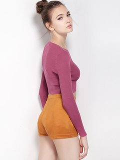 Women Casual Knitwear Pure Color Long Sleeve O Neck Sweaters