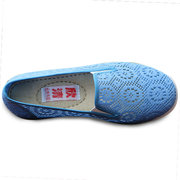 Big Size Lace Floral Mesh Breathable Pure Color Casual Sport Slip On Flat Shoes