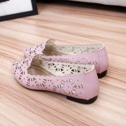 Floral Hollow Out Breathable Korean Style Pointed Toe Slip On Flat Shoes