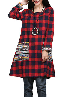 Plaid Ethnic Printed Pocket Long Sleeve Casual Women Vintage Dress