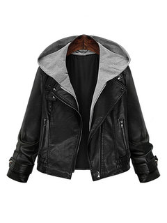 Fashion Elegant Fake Two-piece Hooded Leather Jacket Coat For Women