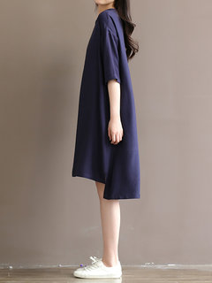 Women Solid Half Sleeve High Low Dress With Belt
