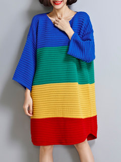 Loose Colorful Color Contrast Batwing Sleeve Knit Dress For Women