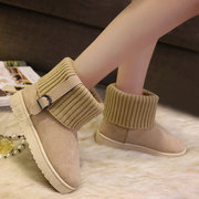 Buckle Strappy Knitting Slip On Fur Lining Warm Flat Snow Boots