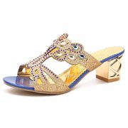 Rhinestone Beaded Coloured Diamond Peep Toe Hollow Out Slip On Slippers