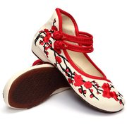 Plum Blossom Flower Flat Slip On Chineseknot Embroidery Shoes