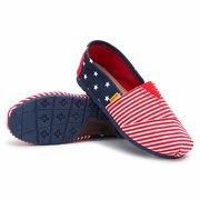 Холст звезда и нашивки Color Match Круглый Носок скольжения на плоских обувь