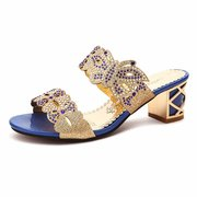 Butterflyknot Floral Crystal Beaded Bling Peep Toe Hollow Out Square Heel Slip On Slippers