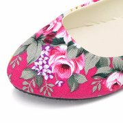 Big Size Colorful Floral Slip On Flat Pointed Toe Loafers