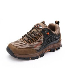 Men Mesh Breathable Toe Protecting Anti Skip Lace Up Outdoor Hiking Shoes