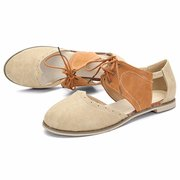 Big Size Pu Hollow Out Color Match Lace Up Oxford Flat Sandals