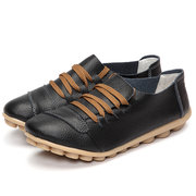 Big Size Leather Casual Lace Up Strappy Flat Soft Sole Shoes