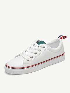 Men Women Lover Unisex White Stripe Sport Lace Up Flat Casual Shoes