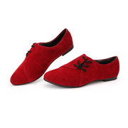Suede Retro British Style Side Lace Up Pointed Toe Flat Loafers