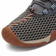 Men Mesh Breathable Soft Shock Absorption Lace Up Flat Outdoor Sport Hiking Shoes