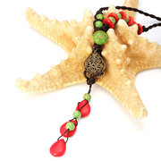 Chinese Handmade Red Turquoise Sweater Necklace