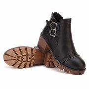 Pu Retro Ankle Buckle Chunky Heel Low Heel Slip On Boots