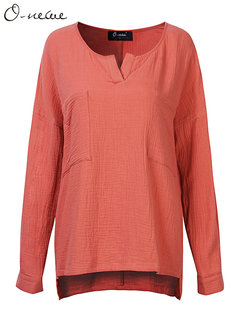 O-NEWE Casual Loose Women Solid Color V Neck Long Sleeve Pocket Blouse