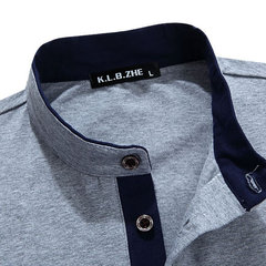 Mens Stand Collar Solid Color Base Tees Buttons Cotton Long Sleeve T-shirts
