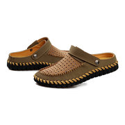 Men Two Way Wearing Hollow Out Breathable Slip On Leather Beach Sandals Slippers