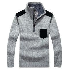 Повседневный Трикотажное руно Сплошной цвет толстый теплый воротник стойка Slim Fit свитер для мужчин